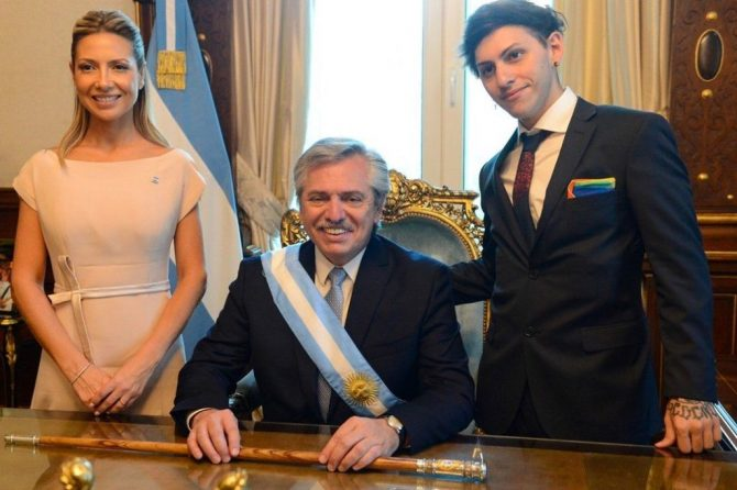 The drag queen son of Argentina's newly-inaugurated president wore a pride flag as a pocket square during the inauguration
