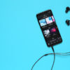 Music streaming application on mobile device.